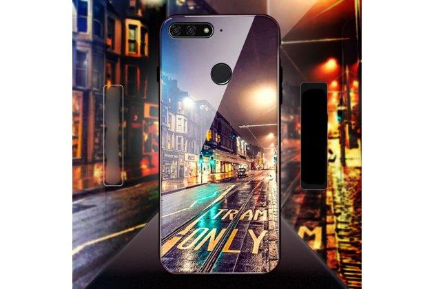 """Фирменный ультра-тонкий силиконовый чехол-бампер для Huawei Honor 7A / Huawei Honor Play 7 Standart/ Y5 Prime 2018 с закаленным стеклом на заднюю крышку телефона """"тематика Ночной город"""""""