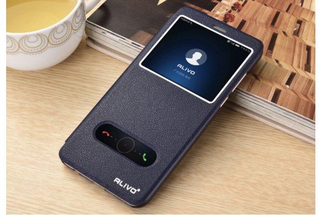 Фирменный чехол-книжка для Huawei Honor 7A / Huawei Honor Play 7 Standart/ Y5 Prime 2018 синий с окошком для входящих вызовов и свайпом водоотталкивающий