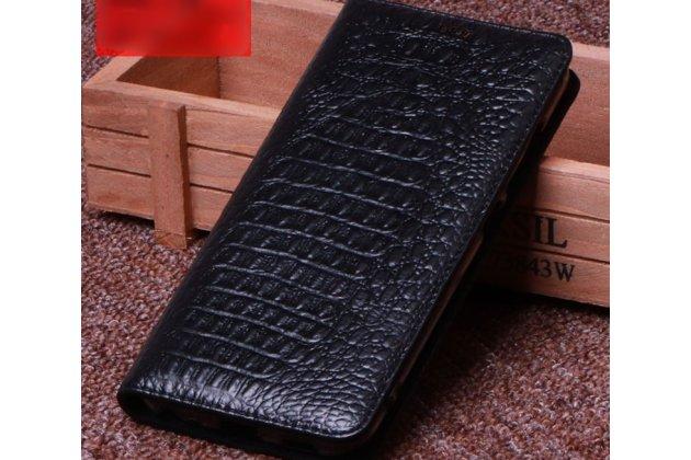 Фирменный роскошный эксклюзивный чехол с фактурной прошивкой рельефа кожи крокодила черный для Huawei Honor 7A / Huawei Honor Play 7 Standart/ Y5 Prime 2018