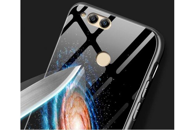 """Фирменный ультра-тонкий силиконовый чехол-бампер для Huawei Honor 7A / Huawei Honor Play 7 Standart/ Y5 Prime 2018 с закаленным стеклом на заднюю крышку телефона """"тематика Космос"""""""