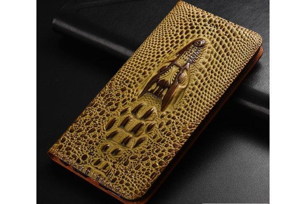 Фирменный роскошный эксклюзивный чехол с объёмным 3D изображением кожи крокодила коричневый для Huawei Honor 7A / Huawei Honor Play 7 Standart/ Y5 Prime 2018 . Только в нашем магазине. Количество ограничено