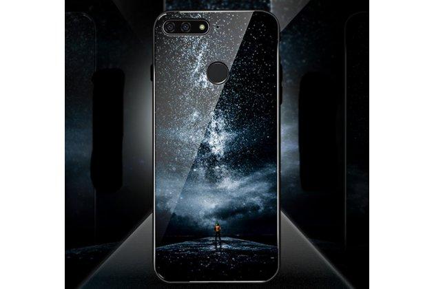 """Фирменный ультра-тонкий силиконовый чехол-бампер для Huawei Honor 7A / Huawei Honor Play 7 Standart/ Y5 Prime 2018 с закаленным стеклом на заднюю крышку телефона """"тематика Звездная ночь"""""""