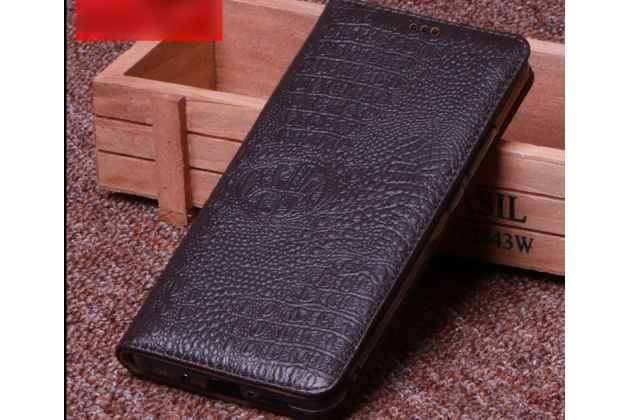 Фирменный роскошный эксклюзивный чехол с фактурной прошивкой рельефа кожи крокодила коричневый для Huawei Honor 7A / Huawei Honor Play 7 Standart/ Y5 Prime 2018