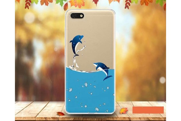"""Фирменная роскошная задняя панель-чехол-накладка  из мягкого силикона с безумно красивым расписным 3D рисунком на Huawei Honor 7A / Huawei Honor Play 7 Standart/ Y5 Prime 2018 """"тематика Дельфины"""""""