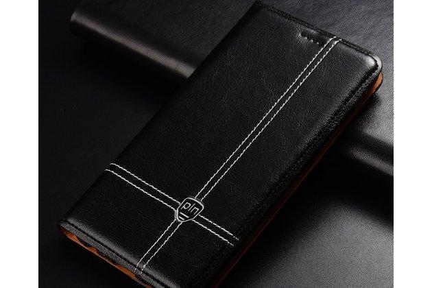 Фирменный премиальный элитный чехол-книжка из качественной импортной кожи с мульти-подставкой и визитницей для Huawei Honor 7A/Huawei Honor Play 7 Standart/ Y5 Prime 2018 черный