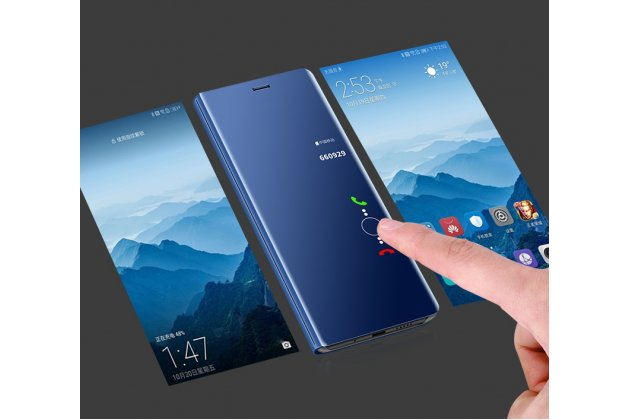 "Чехол-книжка с дизайном ""Clear View Standing Cover""  полупрозрачный с зеркальной поверхностью для Huawei Honor 7A Pro/ Huawei Enjoy 8E/ Huawei Y6 2018/ Huawei Y6 Prime 2018  серебристый"