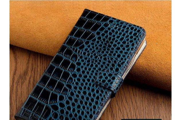 Фирменный роскошный эксклюзивный чехол с фактурной прошивкой рельефа кожи крокодила и визитницей синий для Huawei Honor 7A / Huawei Honor Play 7 Standart/ Y5 Prime 2018