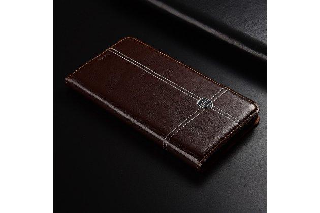 Фирменный премиальный элитный чехол-книжка из качественной импортной кожи с мульти-подставкой и визитницей для Huawei Honor 7A/Huawei Honor Play 7 Standart/ Y5 Prime 2018 коричневый
