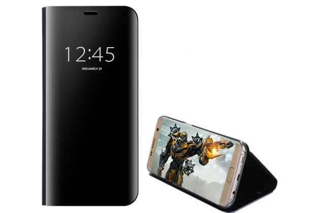 """Чехол-книжка с дизайном """"Clear View Cover"""" полупрозрачный с зеркальной поверхностью для Huawei Honor 8X Max (ARE-AL00) 7.12"""" черный"""