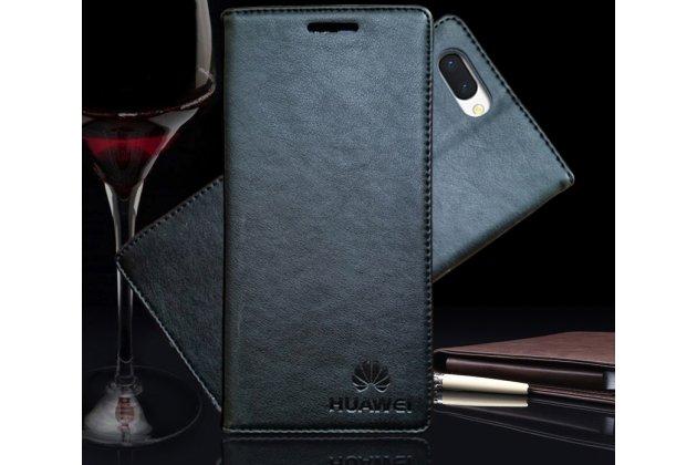 Фирменный премиальный элитный чехол-книжка с логотипом из качественной импортной кожи с мульти-подставкой и визитницей для Huawei Honor 10 черный