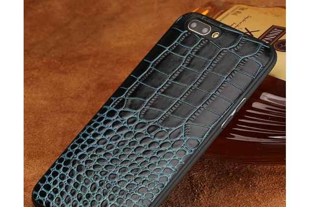 Фирменная элегантная задняя панель-крышка с фактурной отделкой натуральной кожи крокодила синего цвета для Huawei Honor 10. Только в нашем магазине. Количество ограничено.