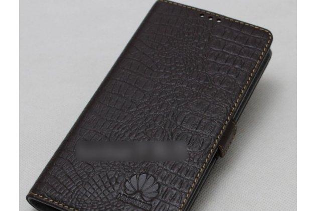 Фирменный оригинальный подлинный чехол с логотипом для Huawei Honor 10 из натуральной кожи крокодила темно-коричневый