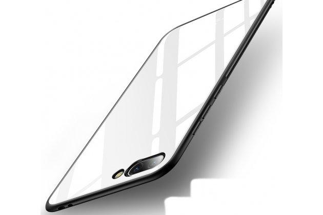 Фирменный ультра-тонкий силиконовый чехол-бампер для Huawei Honor 10 с закаленным стеклом на заднюю крышку телефона белый