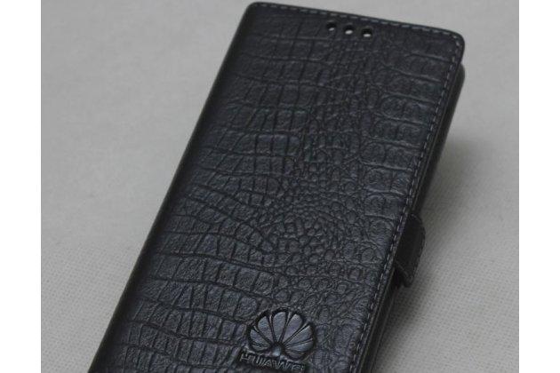 Фирменный оригинальный подлинный чехол с логотипом для Huawei Honor 10 из натуральной кожи крокодила черный