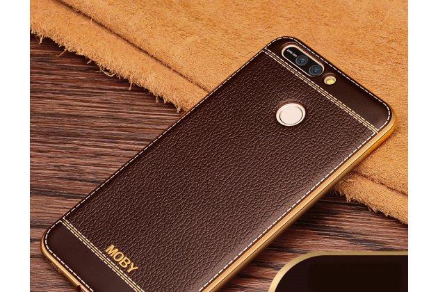 Фирменная премиальная элитная крышка-накладка на Huawei Honor 10 коричневая из качественного силикона с дизайном под кожу