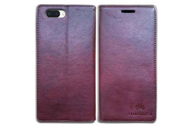 Фирменный премиальный элитный чехол-книжка с логотипом из качественной импортной кожи с мульти-подставкой и визитницей для Huawei Honor 10 цвет красное вино