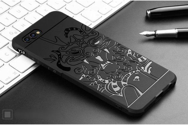 """Фирменная роскошная задняя панель-чехол-накладка  из мягкого силикона с безумно красивым расписным 3D рисунком на Huawei Honor 10 """"тематика Дракон"""" черная"""