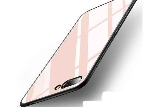 Фирменный ультра-тонкий силиконовый чехол-бампер для Huawei Honor 10 с закаленным стеклом на заднюю крышку телефона розовое золото