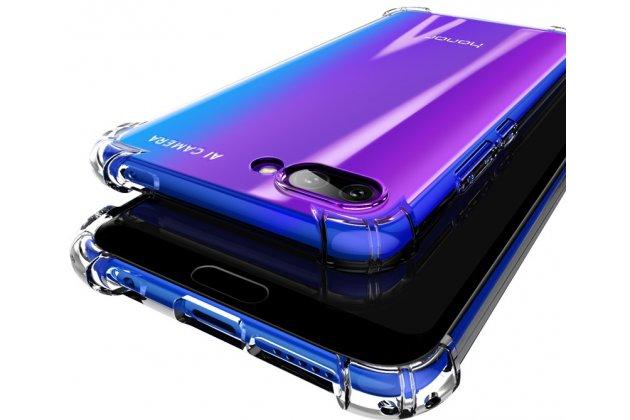 Фирменная задняя панель-чехол-накладка с защитными заглушками с защитой боковых кнопок для Huawei Honor 10 прозрачная