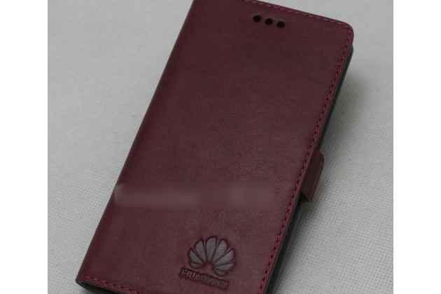 Фирменный оригинальный подлинный чехол с логотипом для Huawei Honor 10 из натуральной кожи цвет красное вино