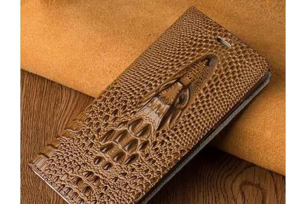Фирменный роскошный эксклюзивный чехол с объёмным 3D изображением кожи крокодила коричневый для Huawei Honor 10 . Только в нашем магазине. Количество ограничено
