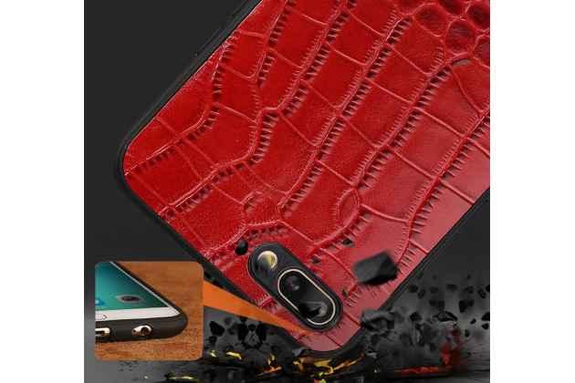 Фирменная элегантная задняя панель-крышка с фактурной отделкой натуральной кожи крокодила красного цвета для Huawei Honor 10. Только в нашем магазине. Количество ограничено.