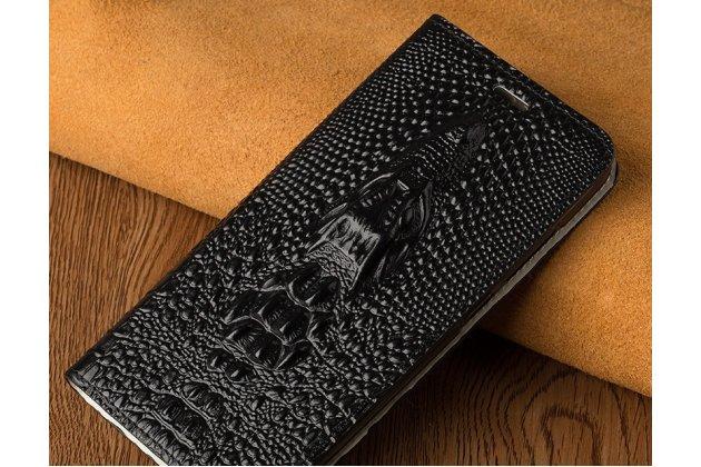 Фирменный роскошный эксклюзивный чехол с объёмным 3D изображением кожи крокодила черный для Huawei Honor 10  Только в нашем магазине. Количество ограничено
