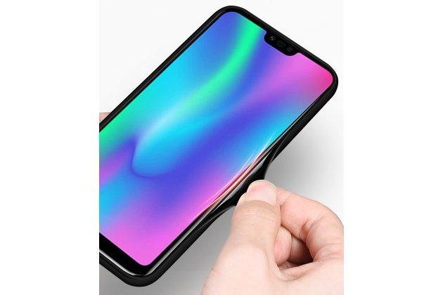 """Фирменный ультра-тонкий силиконовый чехол-бампер для Huawei Honor 10 с закаленным стеклом на заднюю крышку телефона """"тематика Сакура"""""""