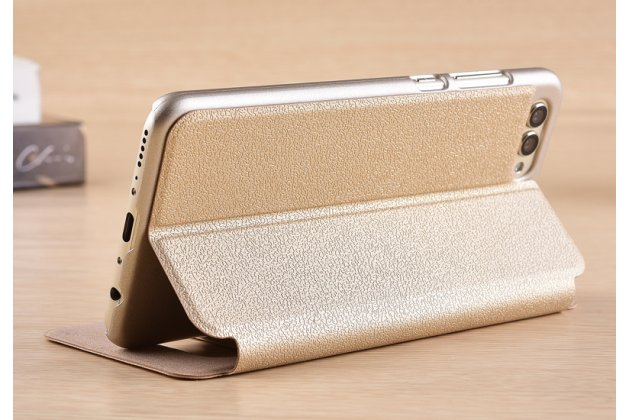 Фирменный чехол-книжка для Huawei Honor 10 золотой с окошком для входящих вызовов и свайпом водоотталкивающий