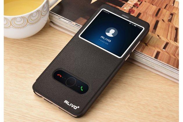 Фирменный чехол-книжка для Huawei Honor 10 черный с окошком для входящих вызовов и свайпом водоотталкивающий