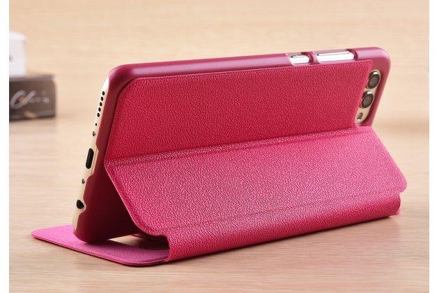 Фирменный чехол-книжка для Huawei Honor 10 розовый с окошком для входящих вызовов и свайпом водоотталкивающий