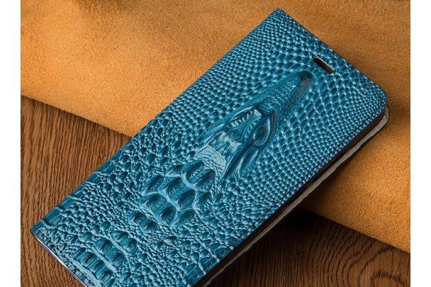 Фирменный роскошный эксклюзивный чехол с объёмным 3D изображением кожи крокодила синий для Huawei Honor 10 . Только в нашем магазине. Количество ограничено