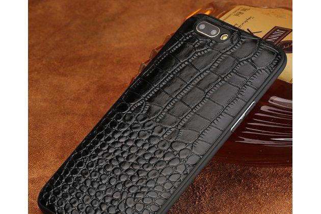 Фирменная элегантная задняя панель-крышка с фактурной отделкой натуральной кожи крокодила черного цвета для Huawei Honor 10. Только в нашем магазине. Количество ограничено.