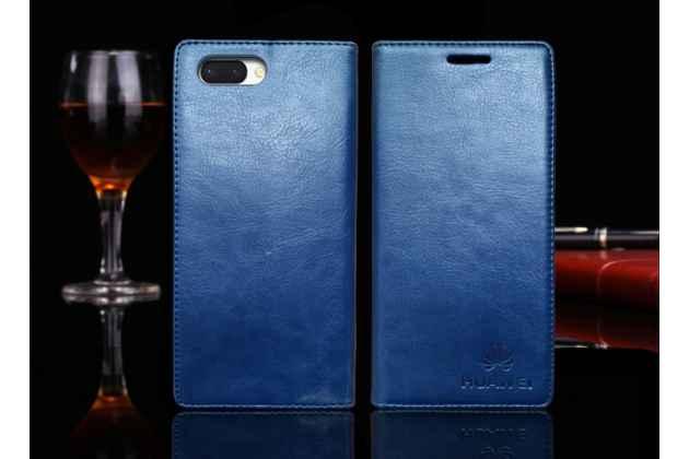 Фирменный премиальный элитный чехол-книжка с логотипом из качественной импортной кожи с мульти-подставкой и визитницей для Huawei Honor 10 синий