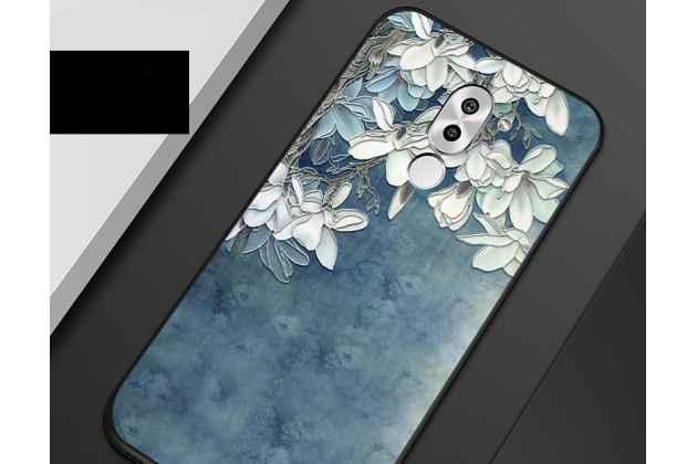 """Фирменная роскошная задняя панель-чехол-накладка  из мягкого силикона с безумно красивым расписным 3D рисунком на Huawei Honor 10 """"тематика Белая Магнолия"""""""