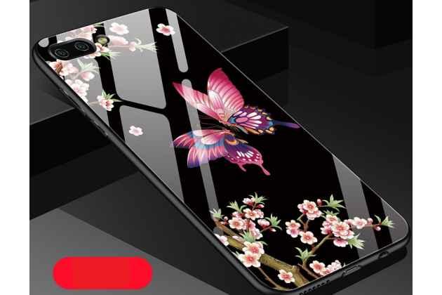 """Фирменный ультра-тонкий силиконовый чехол-бампер для Huawei Honor 10 с закаленным стеклом на заднюю крышку телефона """"тематика Радужная бабочка"""""""