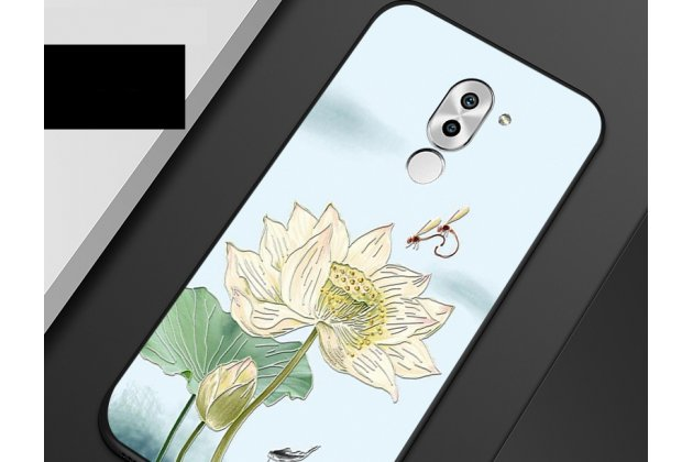 """Фирменная роскошная задняя панель-чехол-накладка  из мягкого силикона с безумно красивым расписным 3D рисунком на Huawei Honor 10 """"тематика Цветок лотоса"""""""