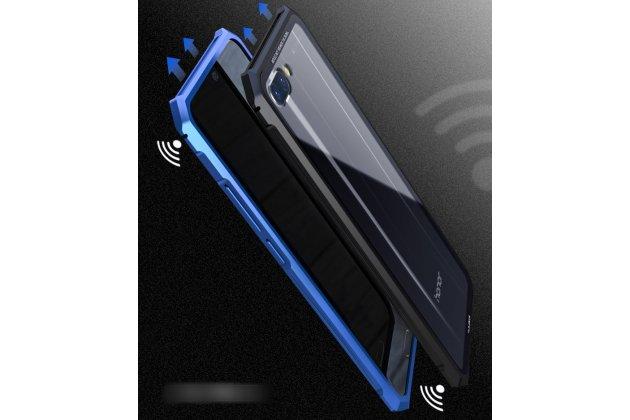 Противоударный усиленный ударопрочный фирменный чехол-бампер-пенал пластиковый черный с металлическим бампером синем для Huawei Honor 10