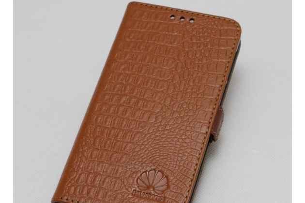 Фирменный оригинальный подлинный чехол с логотипом для Huawei Honor 10 из натуральной кожи крокодила светло-коричневый