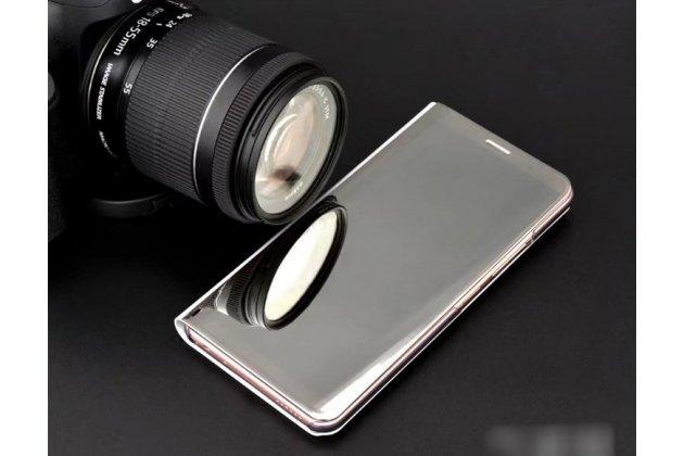 """Чехол-книжка с дизайном """"Clear View Standing Cover"""" полупрозрачный с зеркальной поверхностью для Huawei Honor 10 серебристый"""