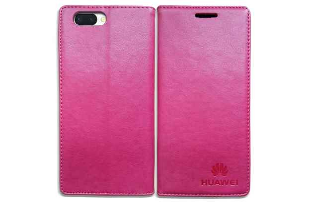 Фирменный премиальный элитный чехол-книжка с логотипом из качественной импортной кожи с мульти-подставкой и визитницей для Huawei Honor 10 розовый