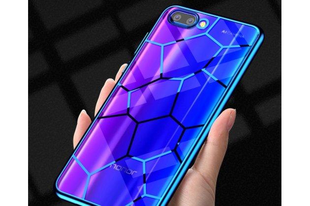Фирменная ультра-тонкая полимерная из мягкого качественного силикона задняя панель-чехол-накладка для Huawei Honor 10 синяя паутина