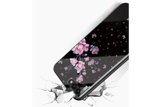 """Фирменный ультра-тонкий силиконовый чехол-бампер для Huawei Honor 10 с закаленным стеклом на заднюю крышку телефона """"тематика Цветы"""""""
