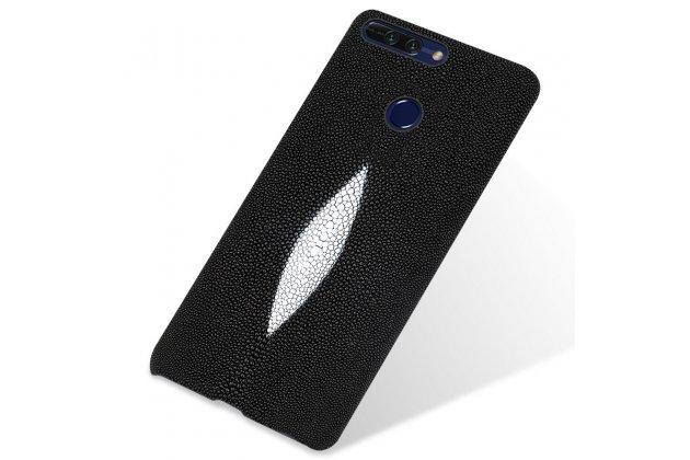 Фирменная роскошная эксклюзивная накладка  из натуральной рыбьей кожи СКАТА (с жемчужным блеском) чёрный для Huawei Honor 10. Только в нашем магазине. Количество ограничено