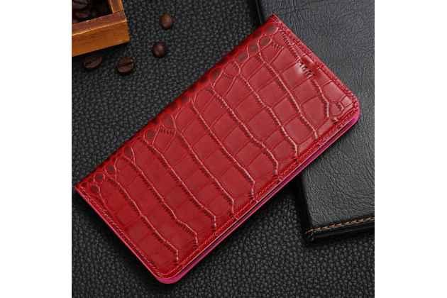 Фирменный роскошный эксклюзивный чехол с фактурной прошивкой рельефа кожи крокодила и визитницей красный для Huawei Honor 8X Max (ARE-AL00) 7.12. Только в нашем магазине. Количество ограничено