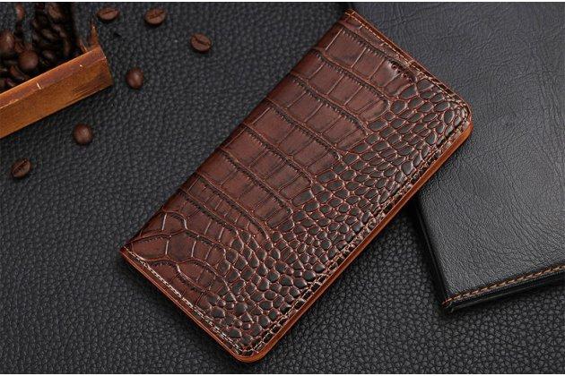 Фирменный роскошный эксклюзивный чехол с фактурной прошивкой рельефа кожи крокодила и визитницей коричневый для Huawei Honor 8X Max (ARE-AL00) 7.12. Только в нашем магазине. Количество ограничено