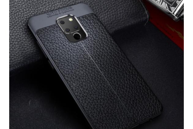 Фирменная премиальная элитная крышка-накладка на Huawei Mate 20 6.53 черная из качественного силикона с дизайном под кожу