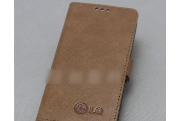 Фирменный оригинальный подлинный чехол с логотипом для LG G7 ThinQ / LG G7 из натуральной кожи светло-коричневый