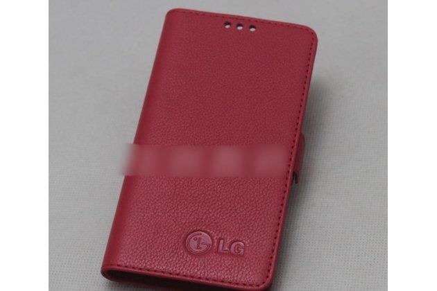 Фирменный оригинальный подлинный чехол с логотипом для LG G7 ThinQ / LG G7 из натуральной кожи красный