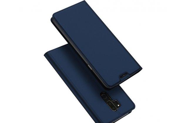 Фирменный чехол-книжка водоотталкивающий с мульти-подставкой на жёсткой металлической основе для LG G7 ThinQ / LG G7  синий